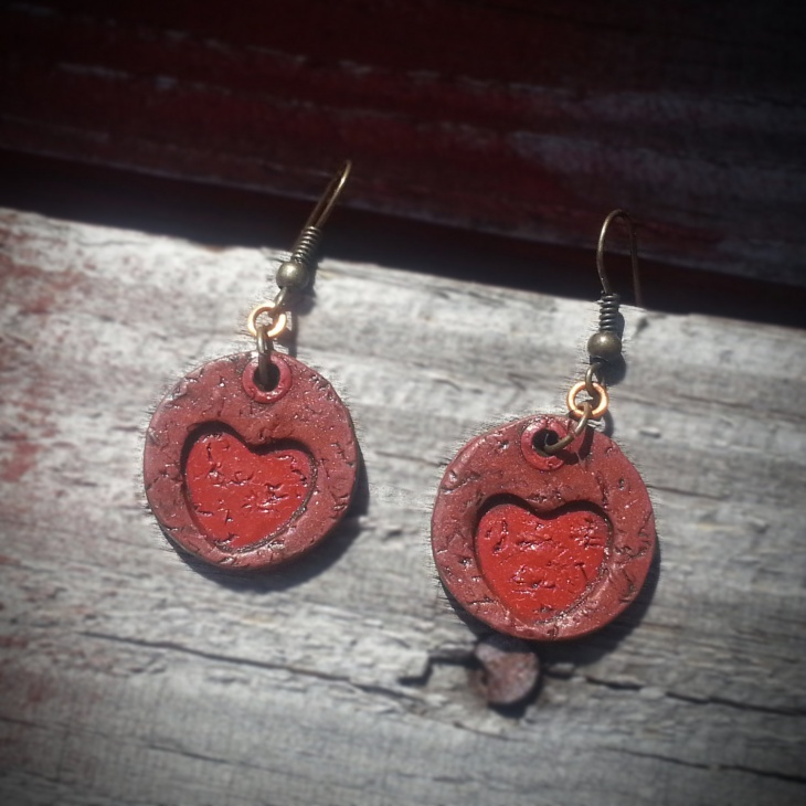 Vegan Leather Heart Pendant Earrings