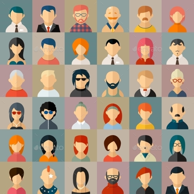 flat people avatars icons set