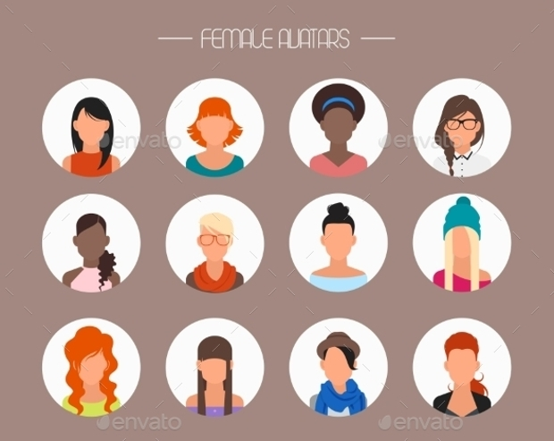 female avatar icons set