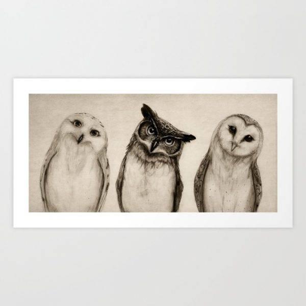 Charcoal owl print