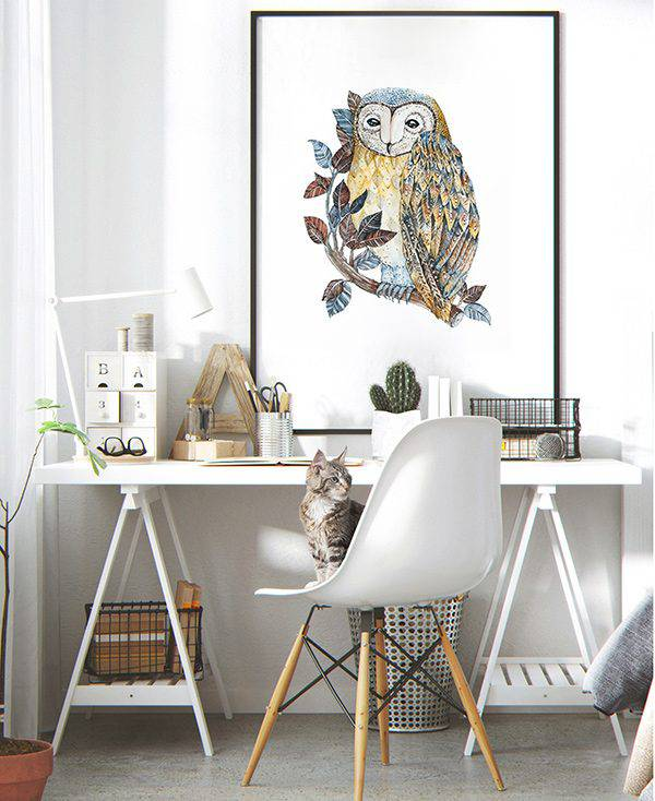 Large owl wall art print