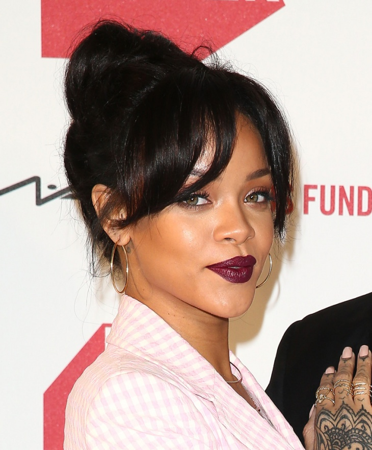 Rihanna Weave Bun With Bangs