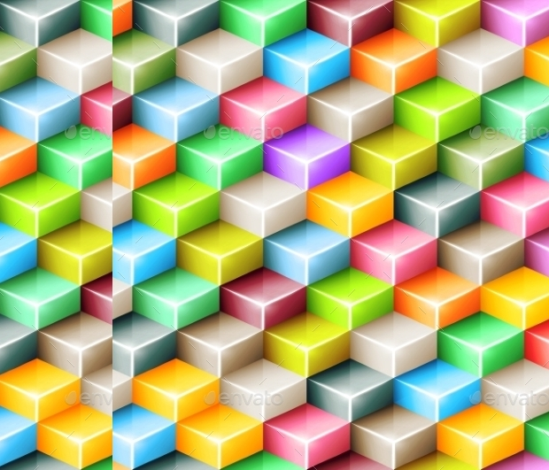 colorful photoshop cubes pattern
