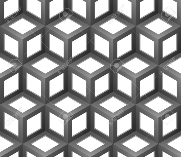 black and white abstract cube seamless pattern