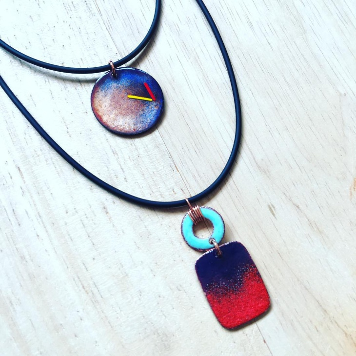 handcrafted enamel pendant necklace