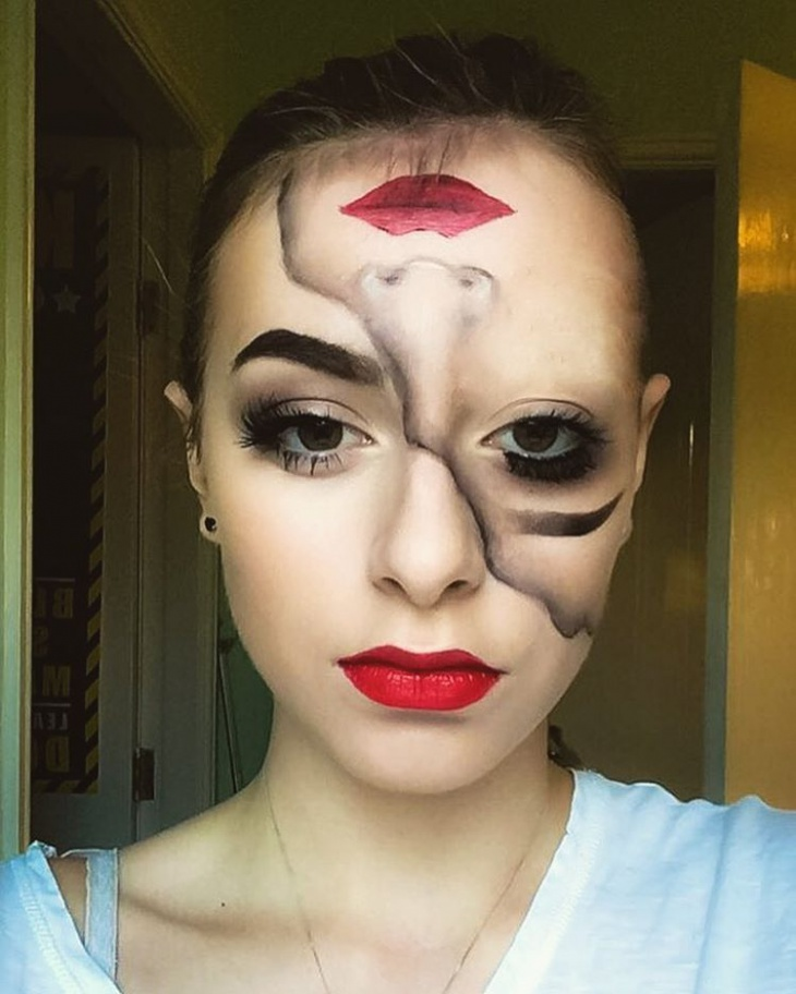 half face illusion makeup idea