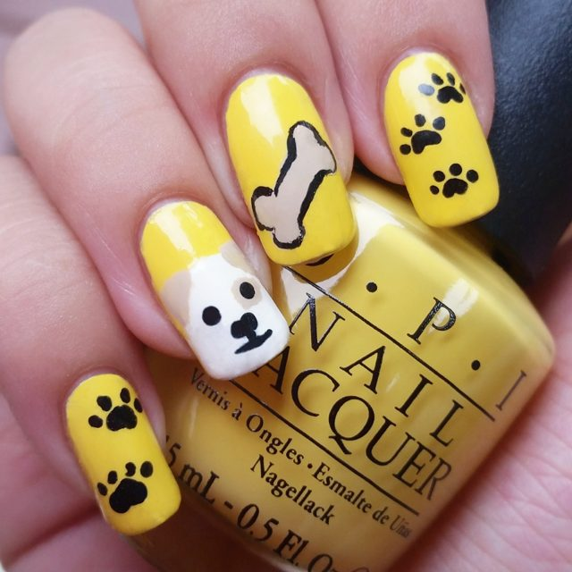 dog paw nail art design