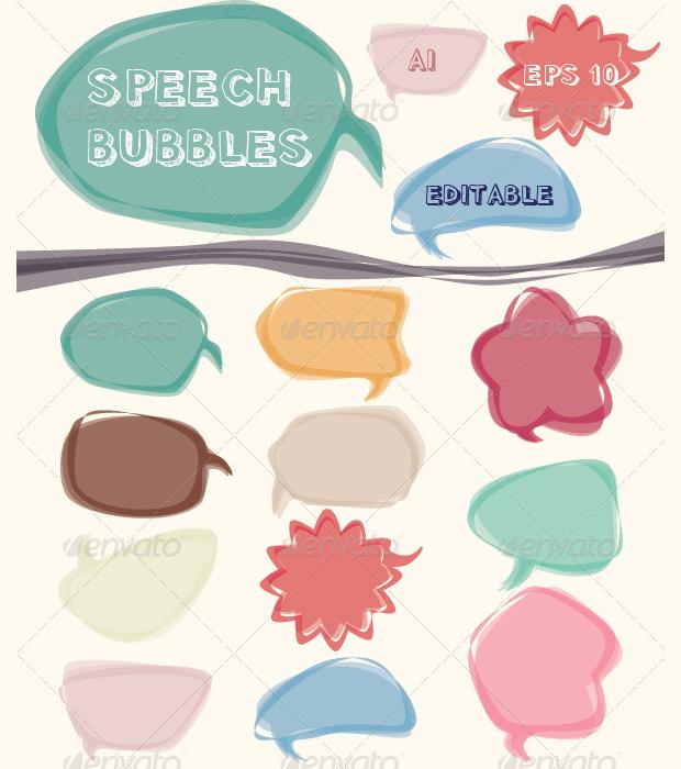 Colorful Speech Bubble Vector Set