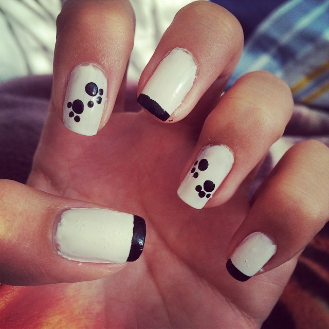 White and Balck Tip Paw Nails
