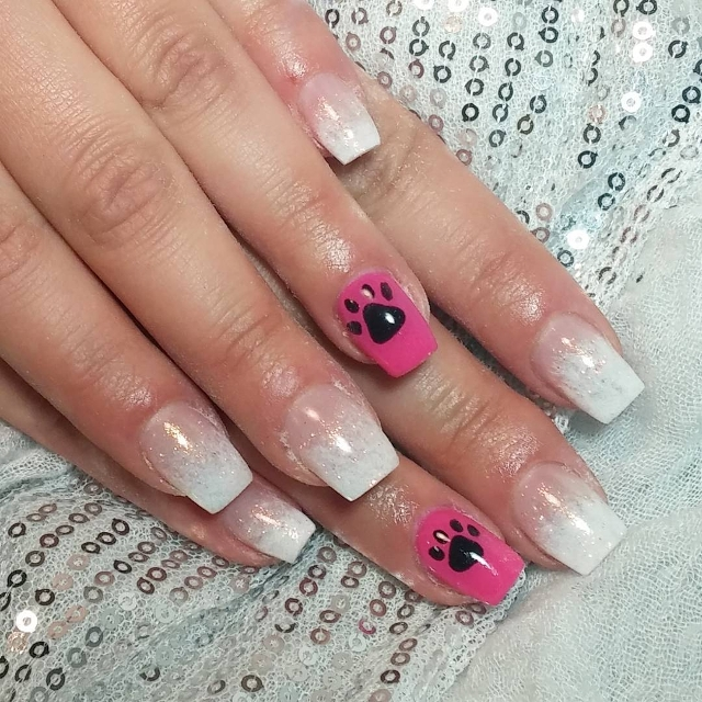 pink and white paw nails