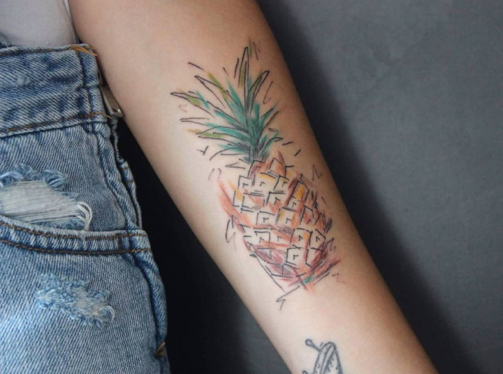 illustration pineapple tattoo idea