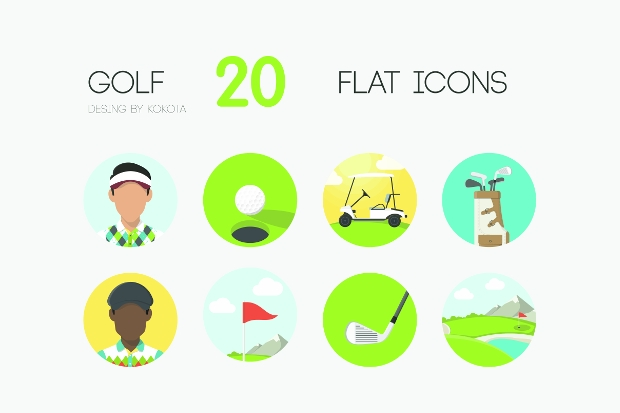 Flat Golf Club Icons