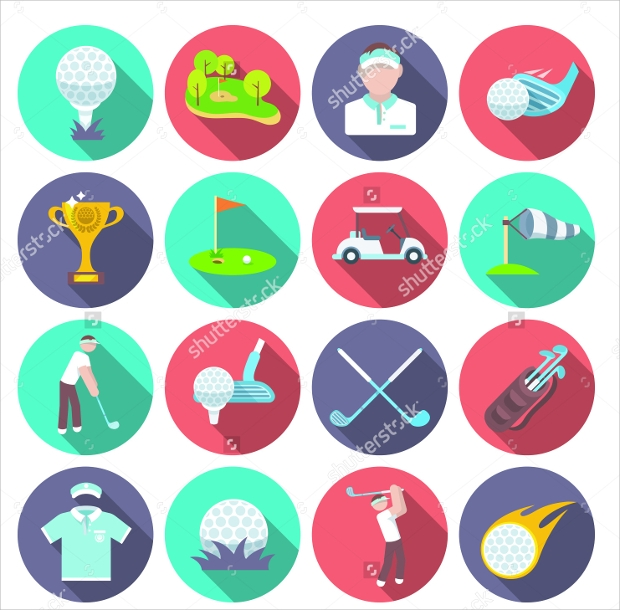 Golf Club Icons Set