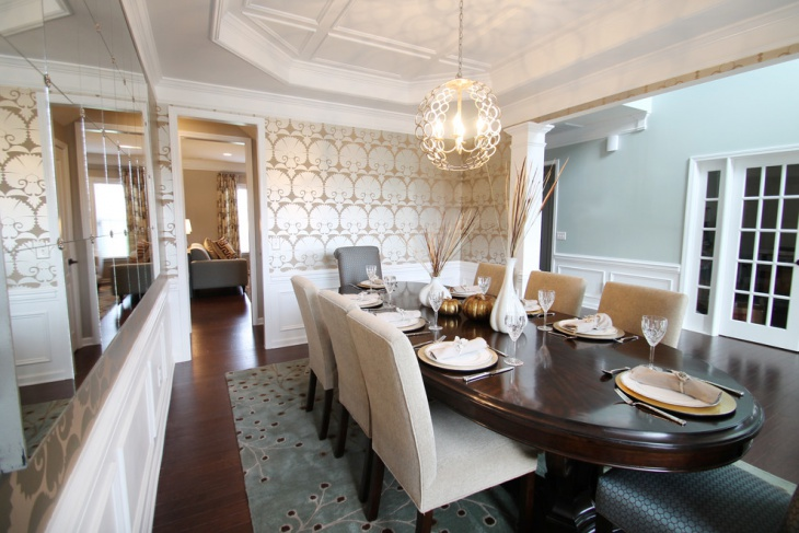 Dining Room With Round Ceiling Light