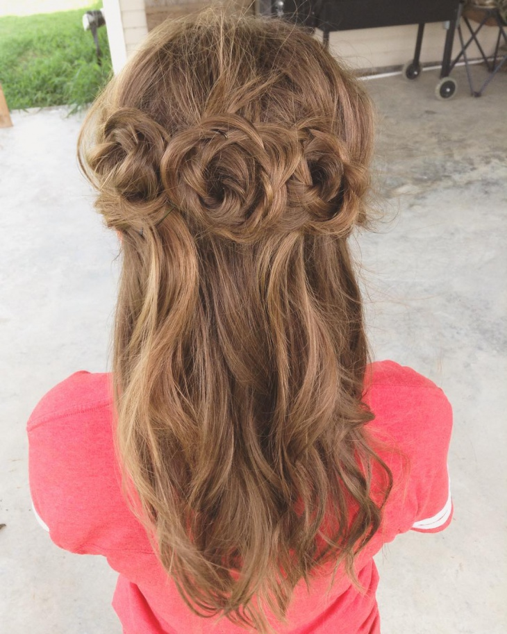 waterfall flower braid hairstyle