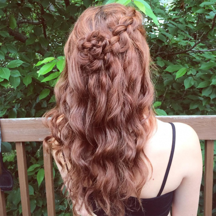 half flower braid hairstyle