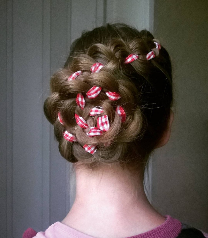ribbon flower braid bun hairstyle