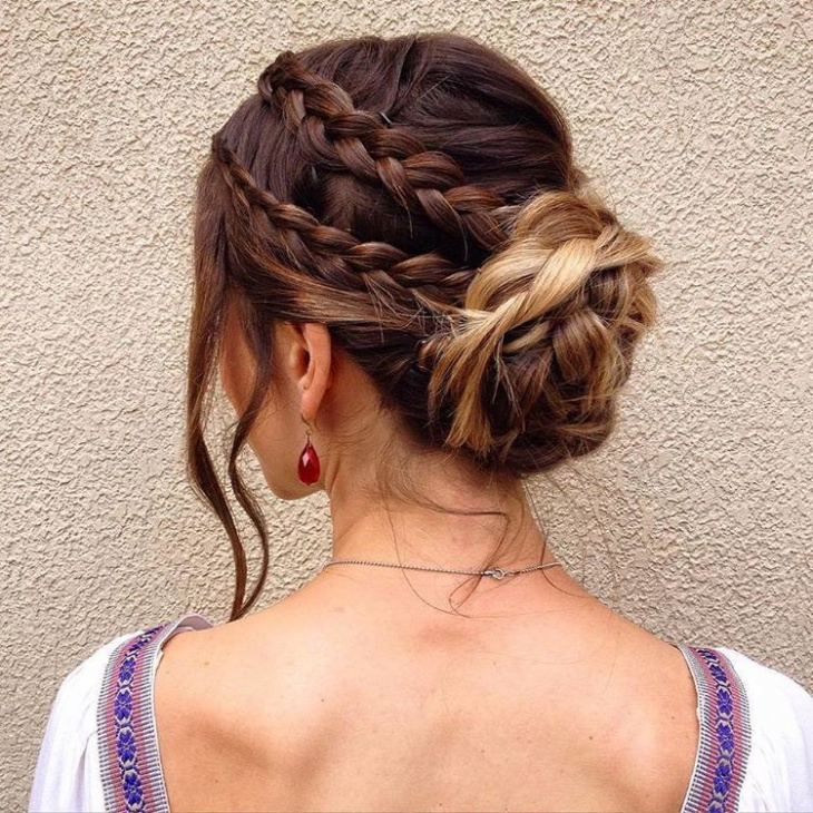 lace flower braid low bun hairstyle