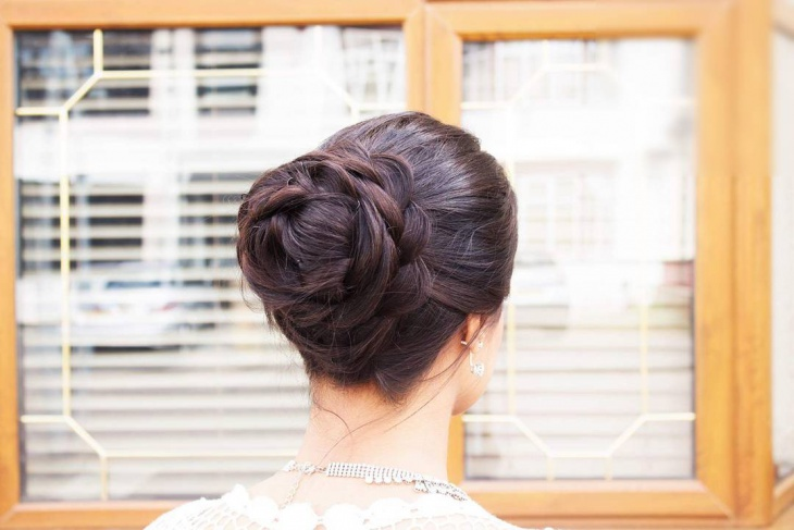 simple flower braid updo