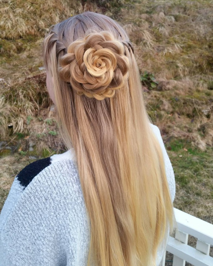 gorgeous flower braid hairstyle design