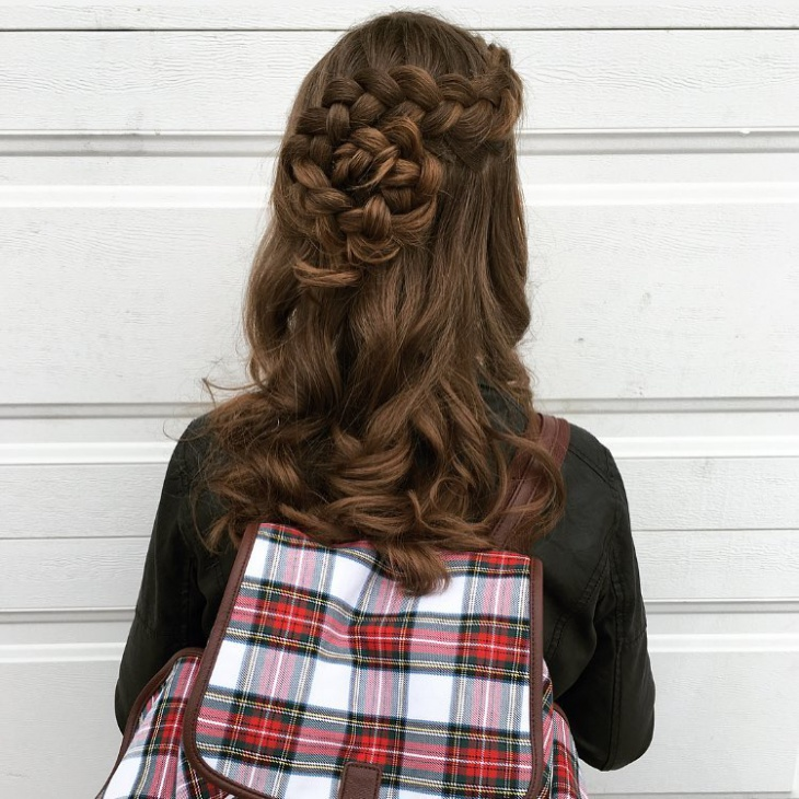 half up flower braid hairstyle