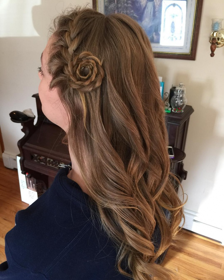 messy flower braid hairstyle