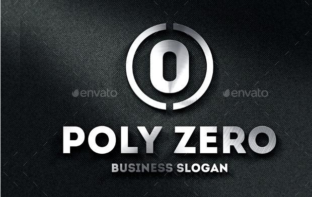 zero number polygonal logo