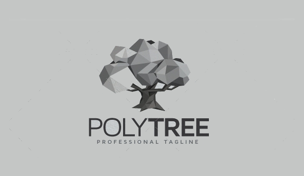 poly tree logo design
