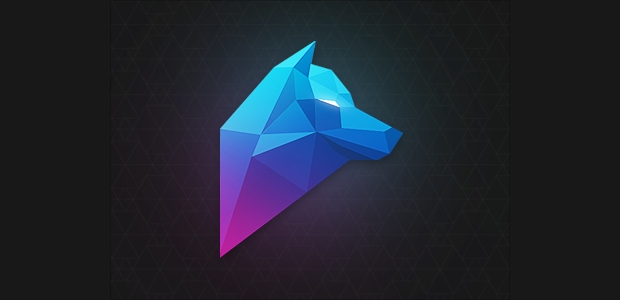 polygon wolf vector logo