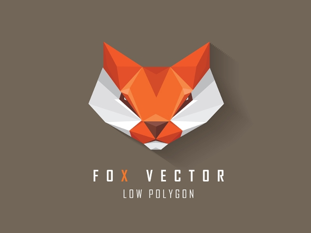 low polygon fox head logo