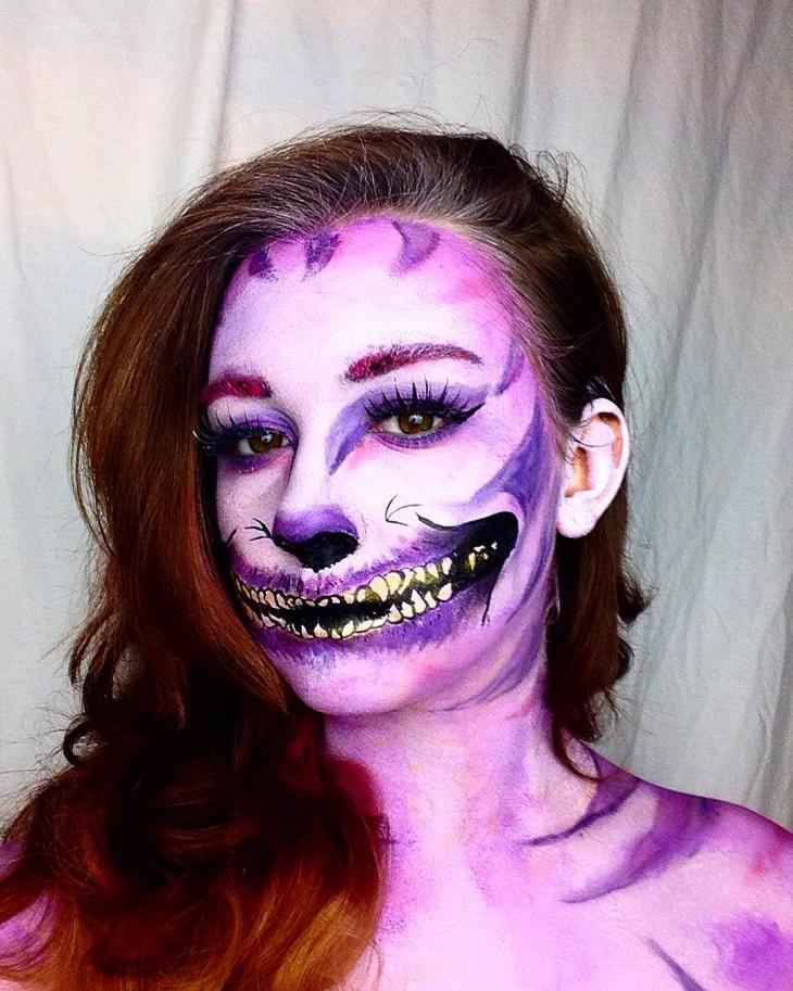 purple alice cat makeup