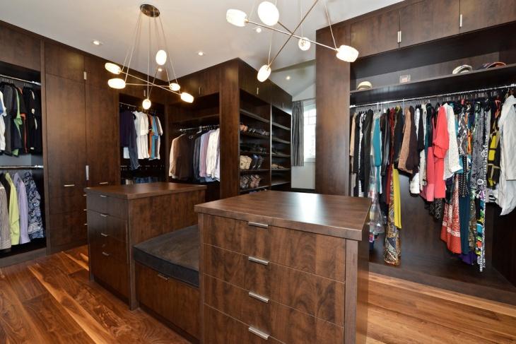 darkwood walk in closet cabinet idea
