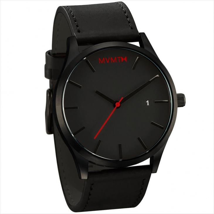 mvmt black leather watch