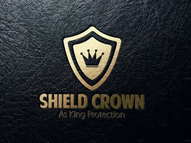 golden sheild crown logo