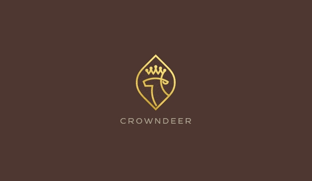 crown deer logo design