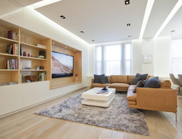White False Ceiling Living Room Design