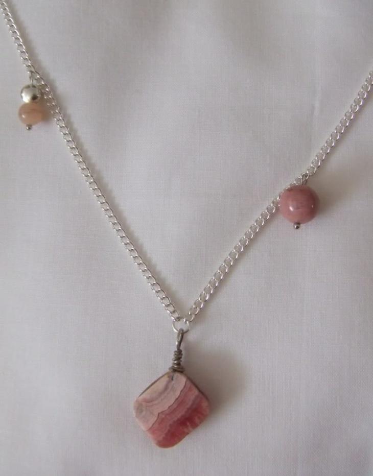 silver rhodonite pendant chain