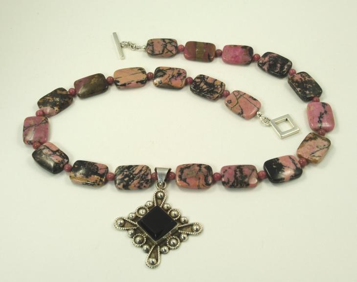 rectangle rhodonite pendant design