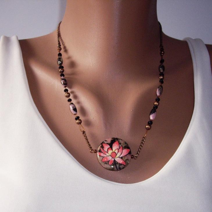 floral rhodonite pendant jewellery