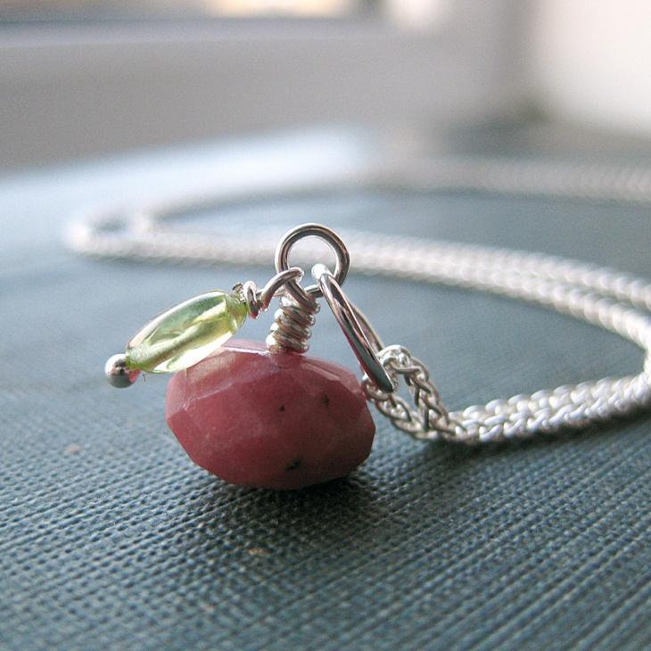 rhodonite silver chain pendant