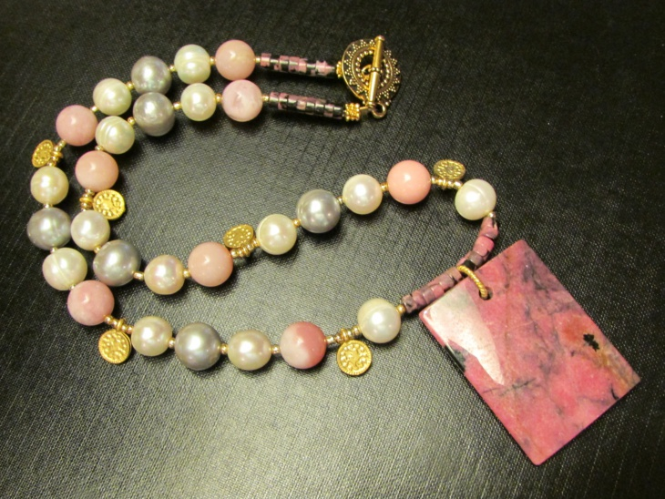 pearls pink opals rhodonite pendant