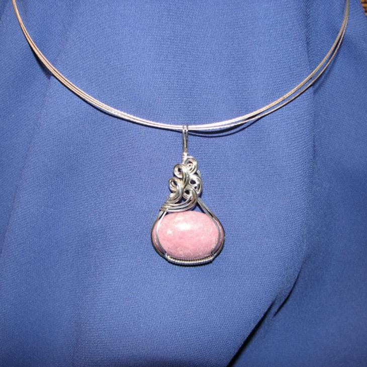 small rhodonite pendant