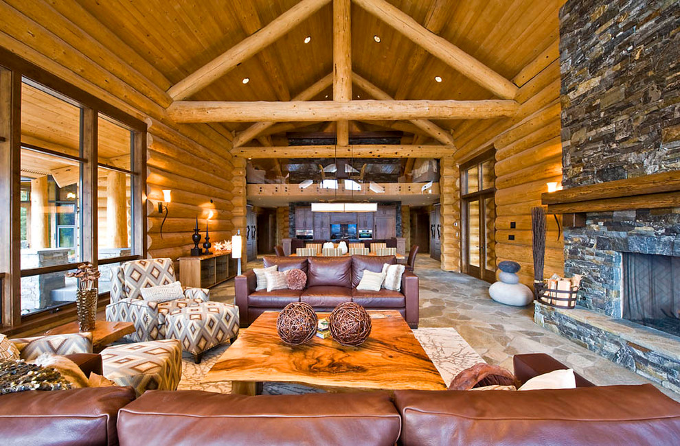 20 cabin living room designs ideas design trends for Log home interior designs