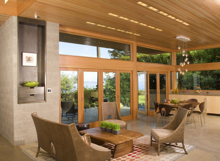 Outdoor View Cabin Living Room