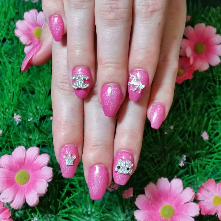 Pink Floral Crown Nail Design Idea