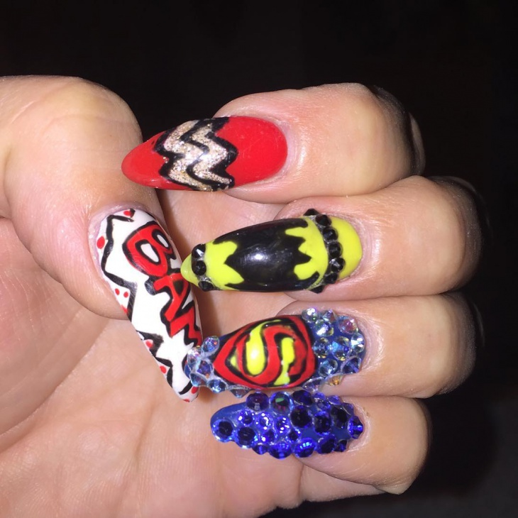 21 comic nail art designs ideas design trends premium psd superhero nail art prinsesfo Gallery