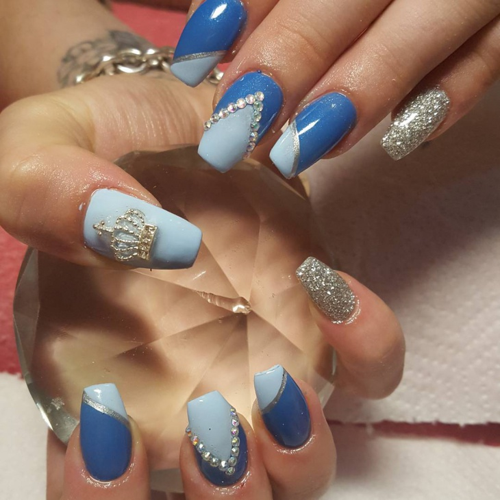 Blue Fancy Crown Nails