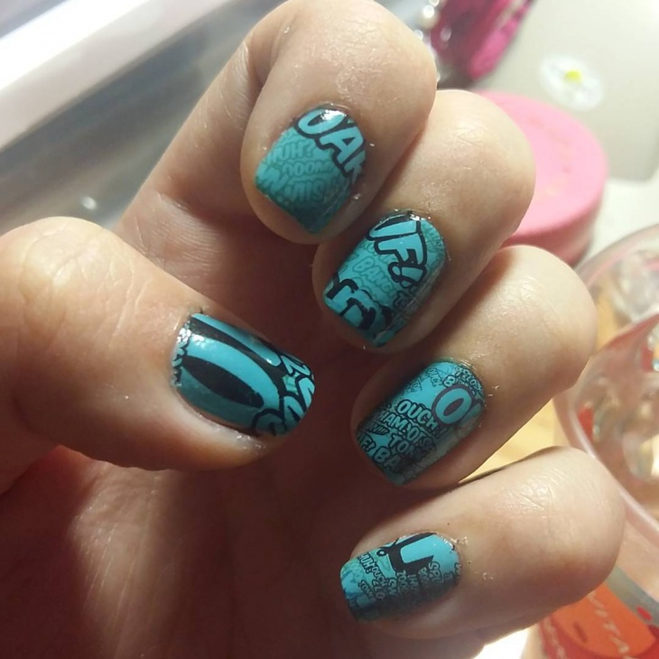 Blue Color Comic Nail Art