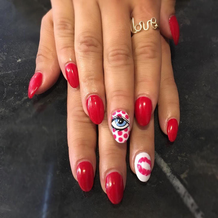 Comic Acrylic Nails Idea