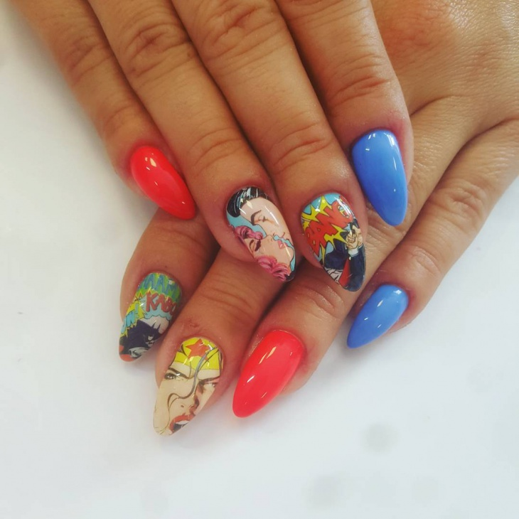 Unique Comic Nail Art Idea